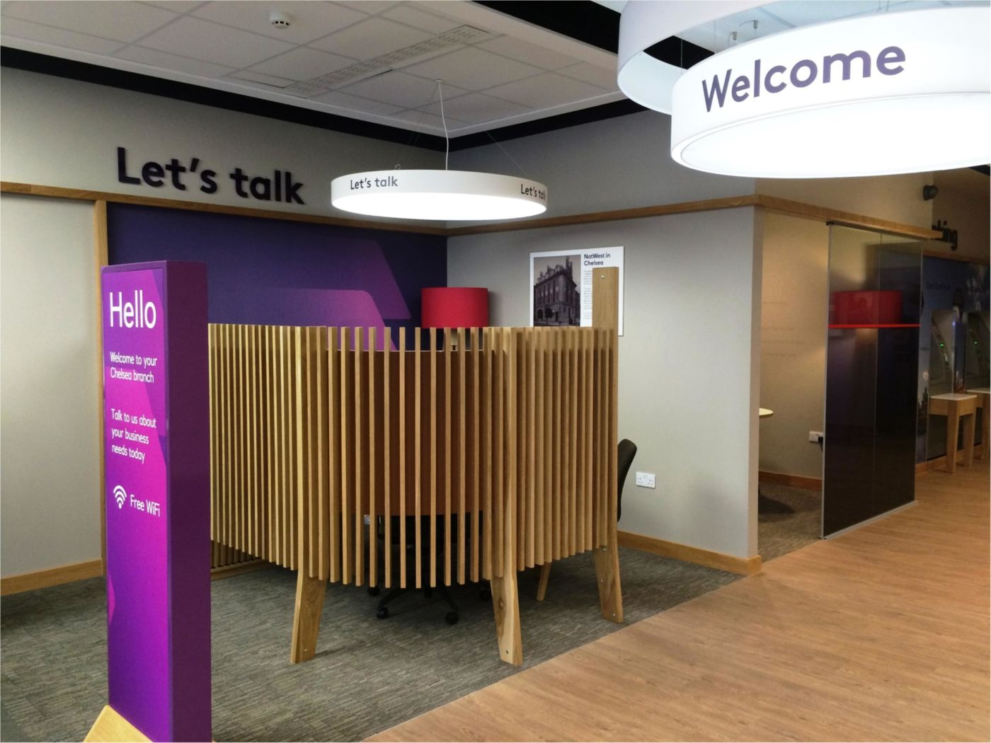 Wooden screens for private meeting booths