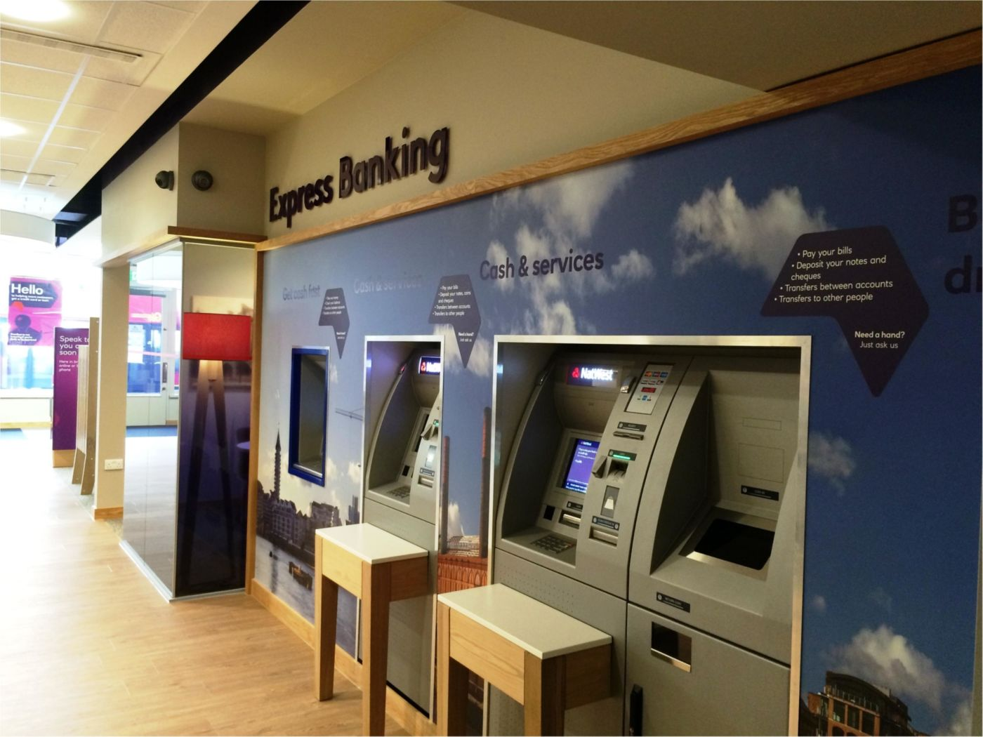 View of ATMs in Natwest fit out