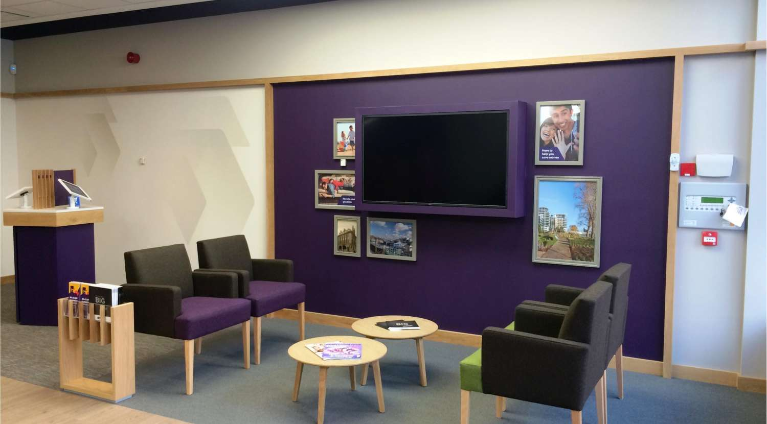 Television in client seating area