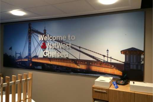 Welcome sign for Natwest Chelsea branch