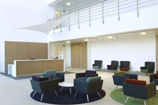 Colourful seating in reception fit out