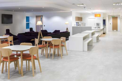 Modern office design in staff breakout area