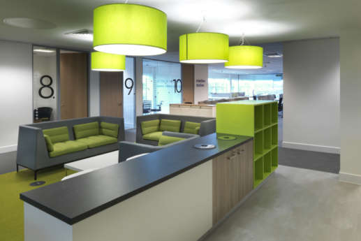 Bright green furniture in office design