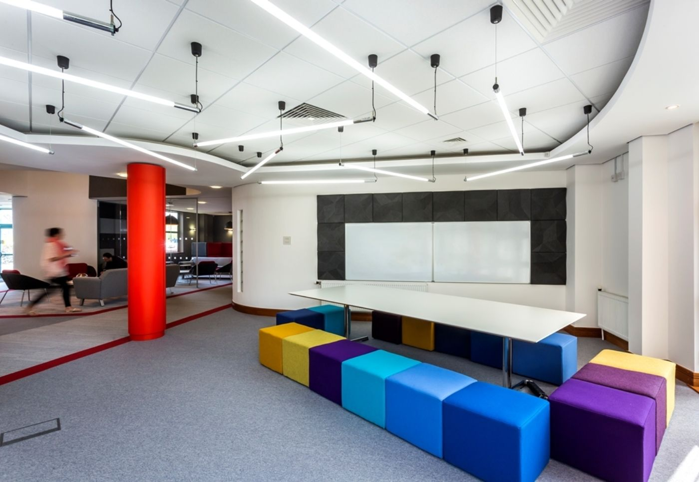 Informal meeting room with colourful stools