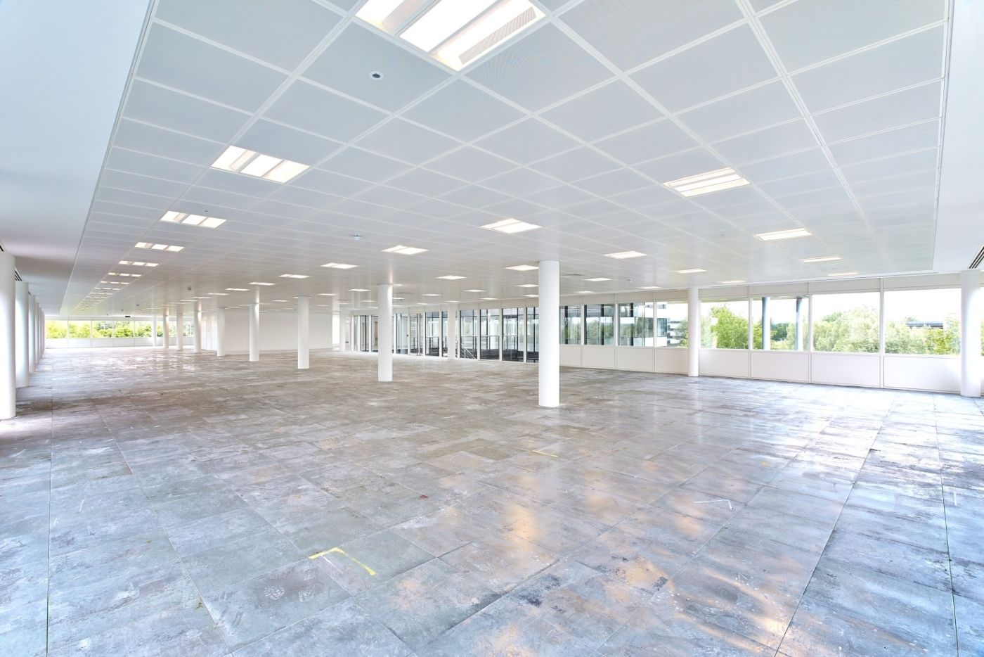Open plan view of office space