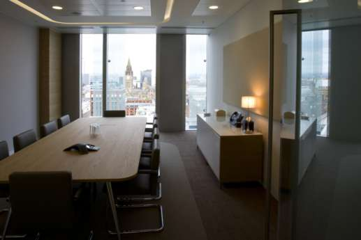 Meeting room with floor to ceiling windows