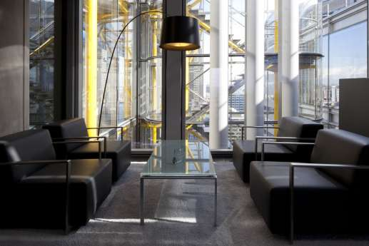 Seating in a London office reception area