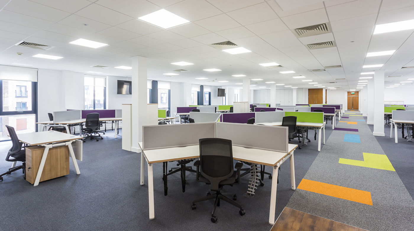 Staff desks in office fit out
