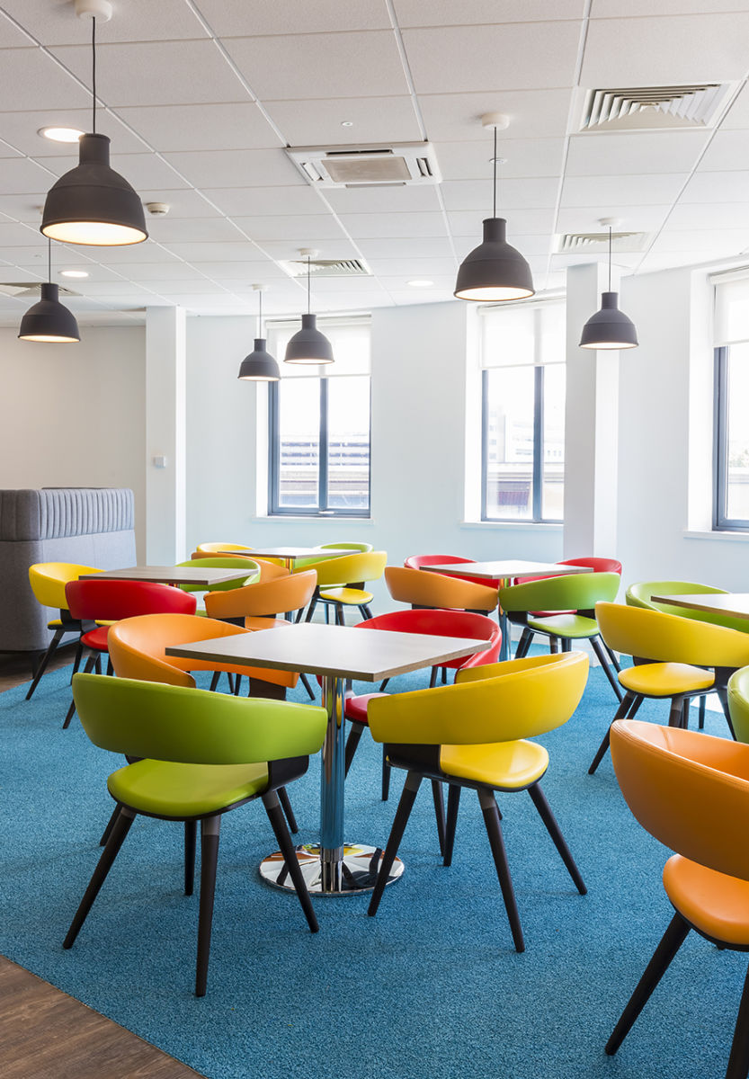 Colourful informal seating area