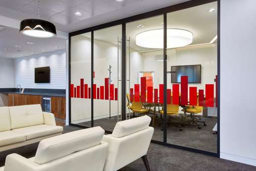 Glass meeting room with red glass detailing