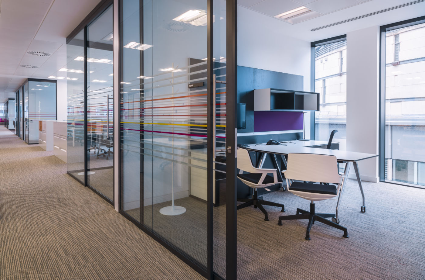 Open plan offices and meeting rooms in new fit out