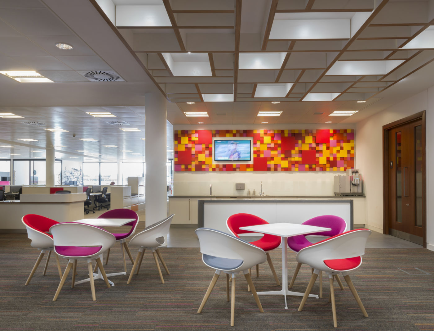 Fit out with colourful chairs and wall detailing