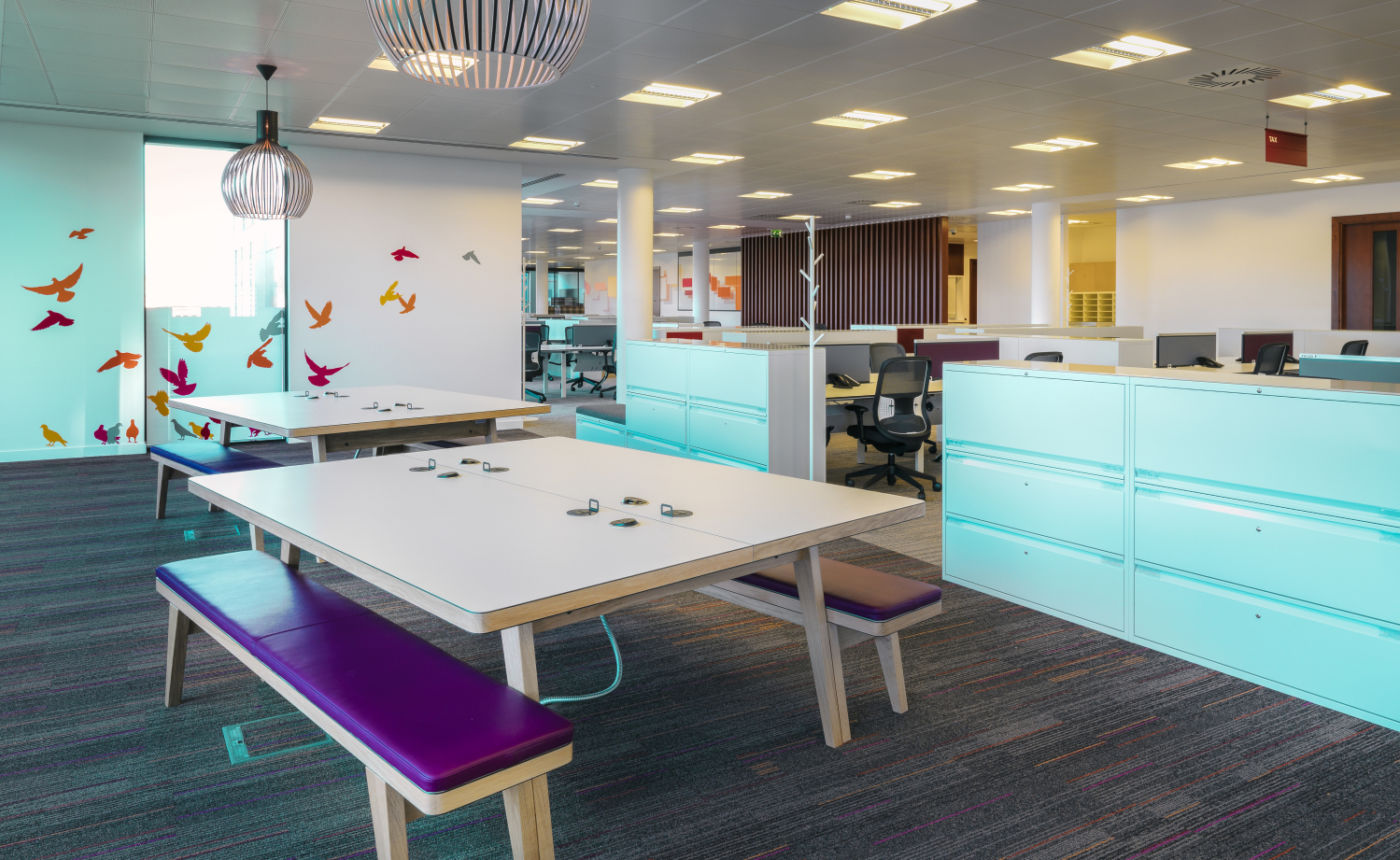 Bench seating with coloured higlights in modern office