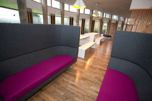 High-backed chairs for a colourful meeting room