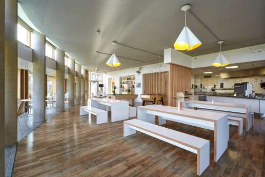 Wooden flooring and benches in modern office