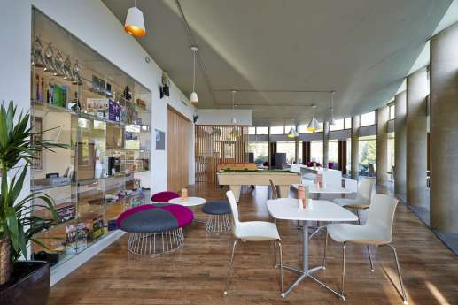 Open plan, modern office seating area