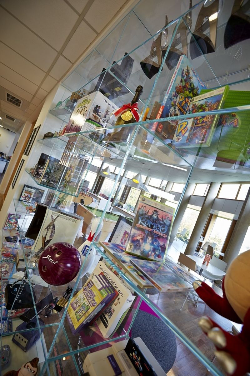 Collection of vintage videogames in Rare office fit out