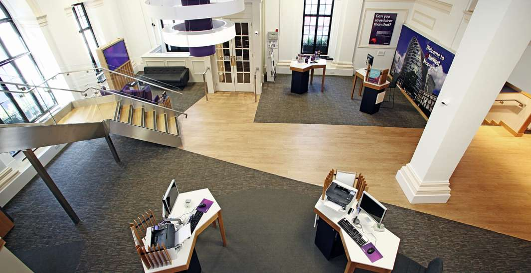 Mezzanine view of Natwest branch fit out