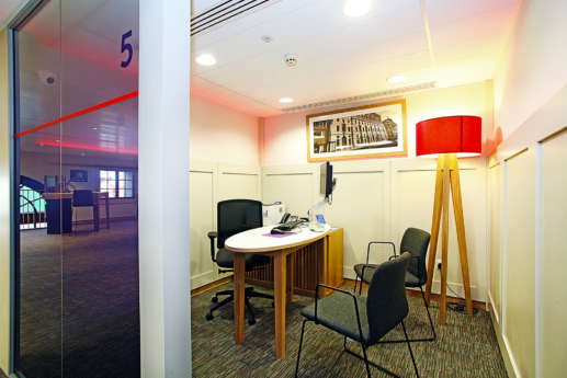 Meeting room with large red lamp