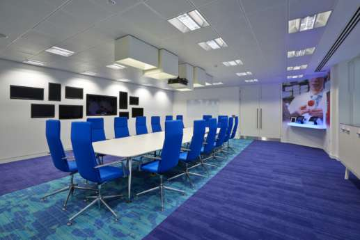 Bright blue formal meeting room
