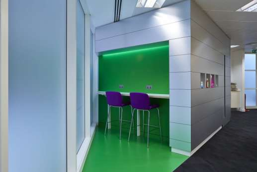 Tall stools in corner of office fit out