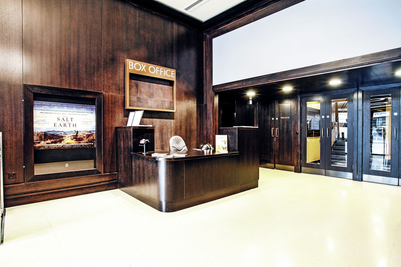 Wooden wall design in cinema reception