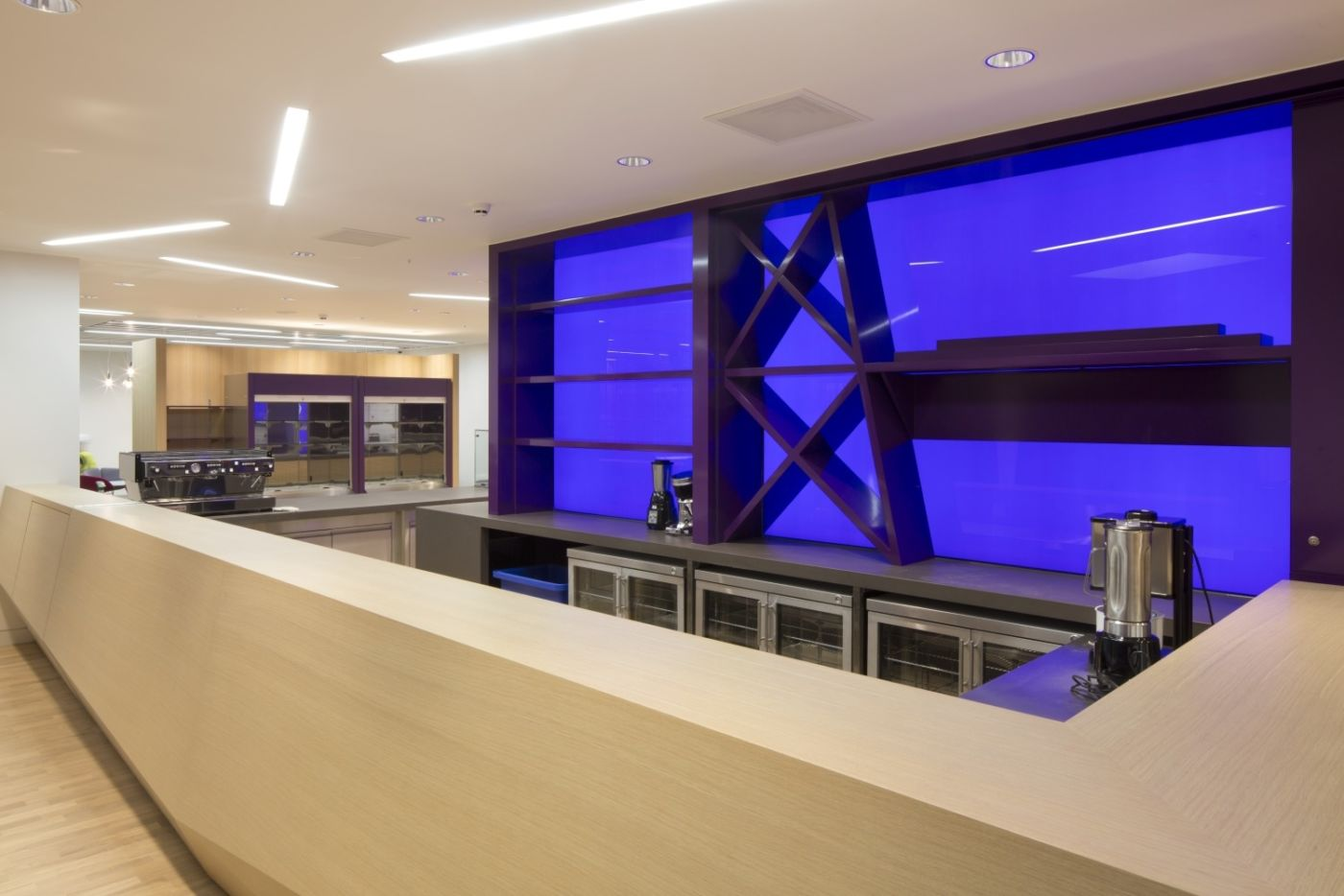 Coffee and drinks bar with purple and blue wall detailing