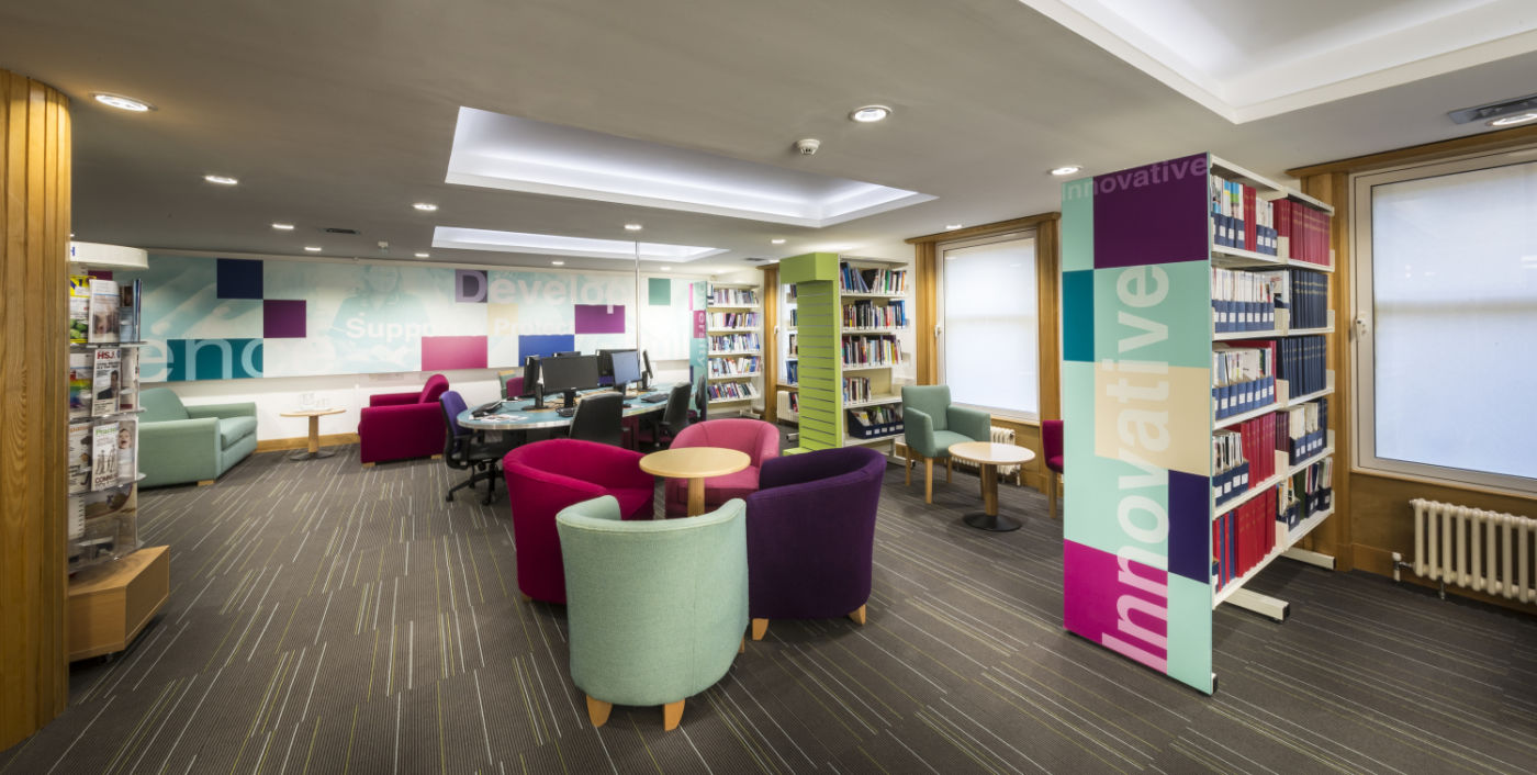 Colourful seating in library