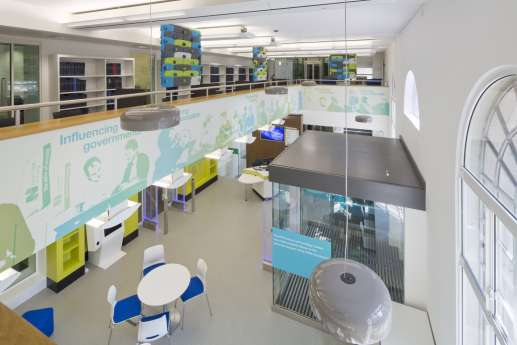 Arial view of library reception