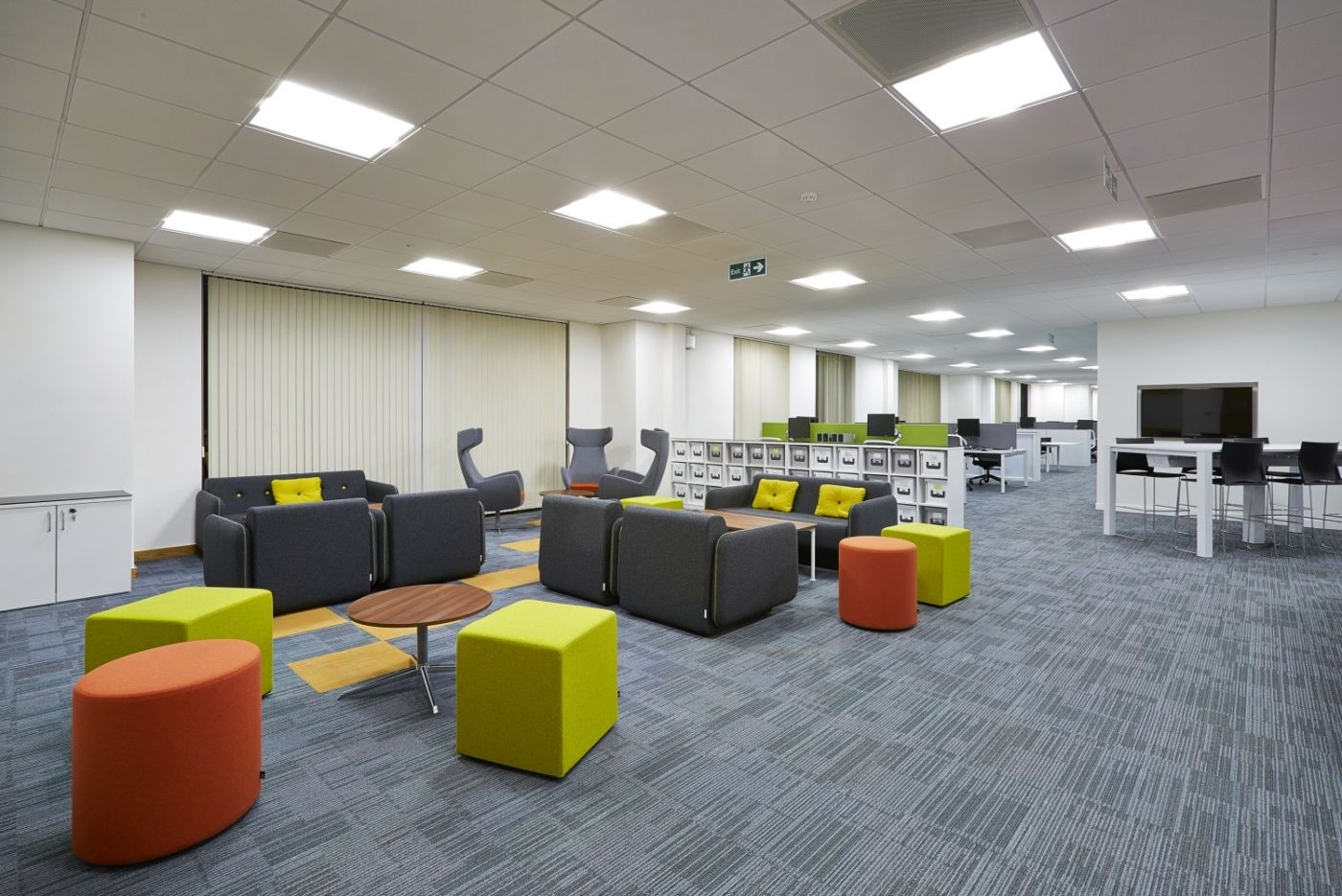 Colourful seating area in office fit out