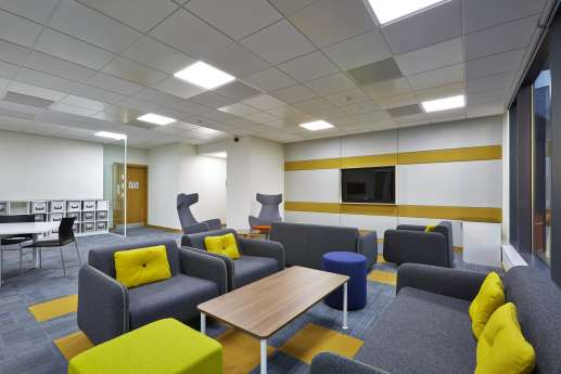 Comfortable sofas in informal staff seating