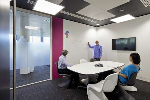 Meeting room with whiteboard wall