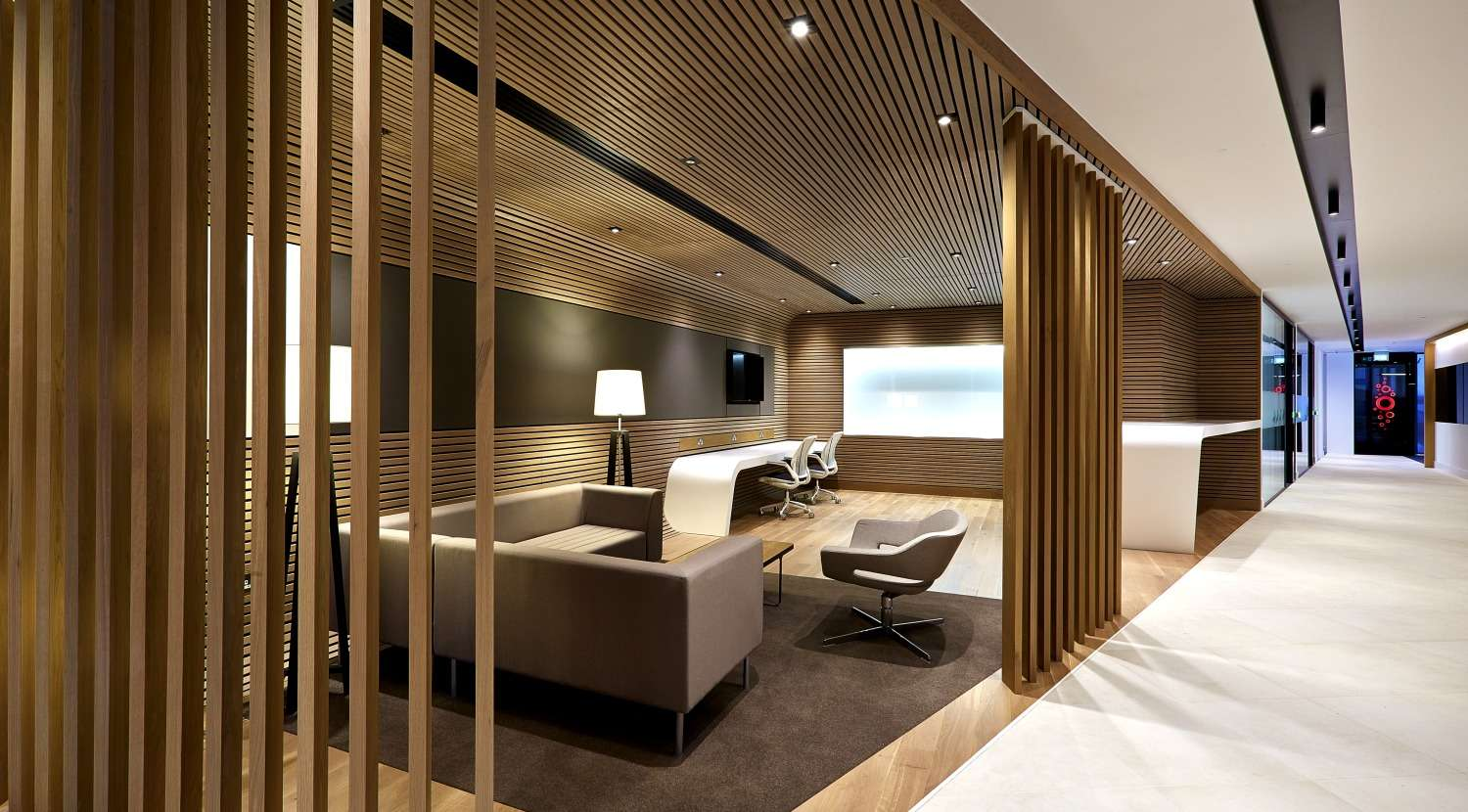 Seating area in wooden office design