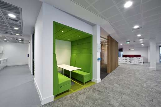 Bright green informal meeting booth