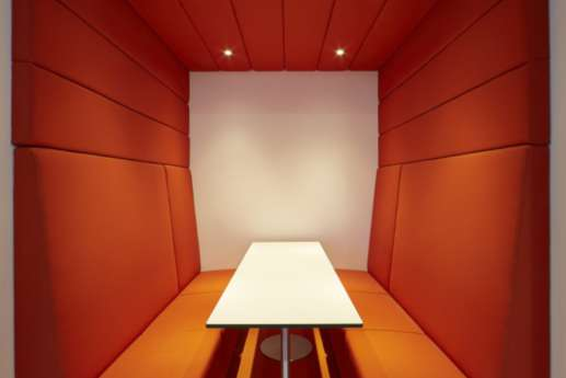 Large red informal meeting booth