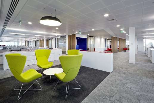 Bright green seating by staff seating area