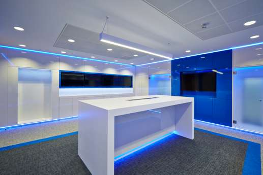 Neon blue meeting room