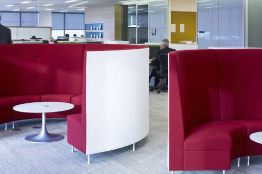 Red curved meeting pods