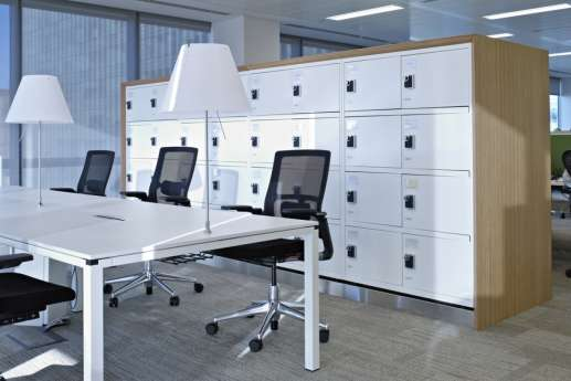 White storage cabinets by staff desks