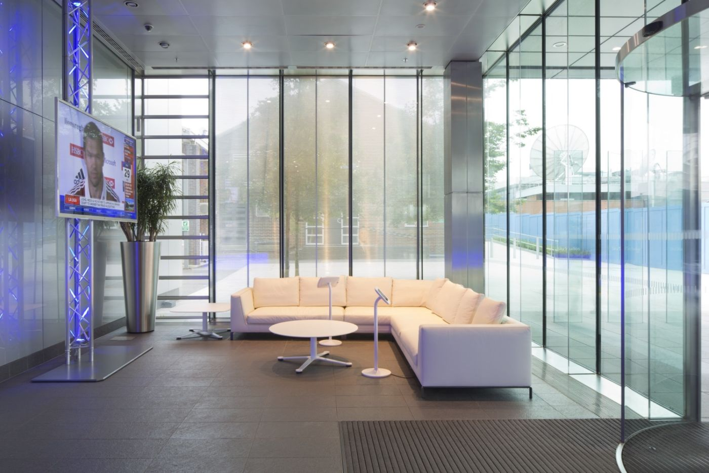 White corner sofa in modern fit out