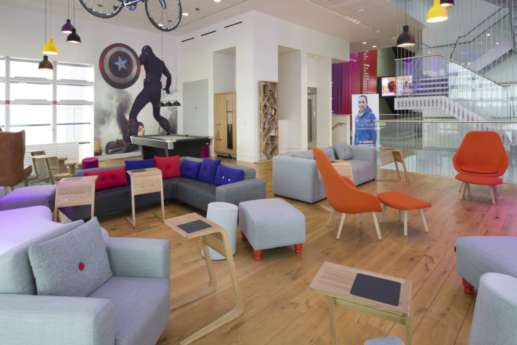 Funky seating area with colourful sofas