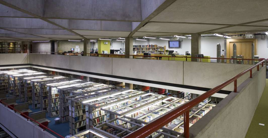 Mezzanine view of bookshelves