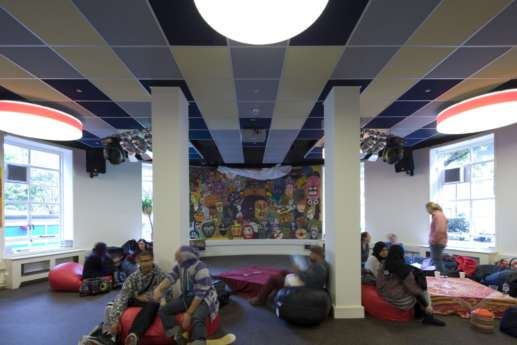 Students chilling in lounge area