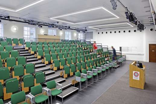Sideview of green lecture seating