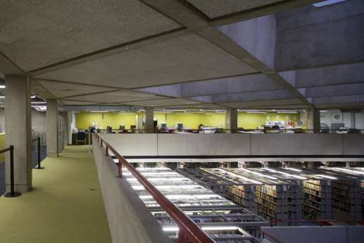 Mezzanine view of library shelves