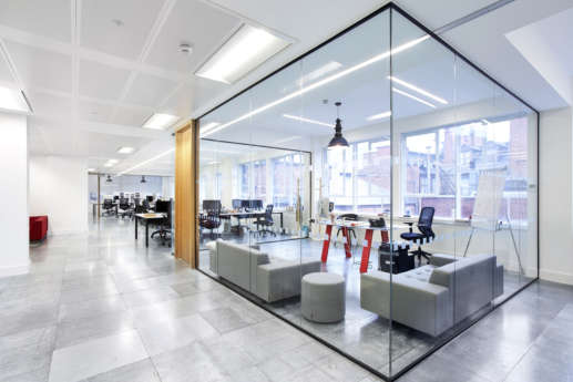 Individual office behind glass walls
