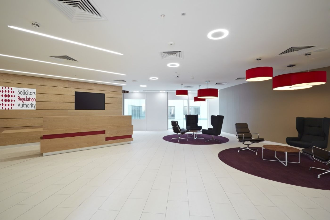 Seating in modern reception area