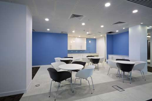 Blue walls in seating area
