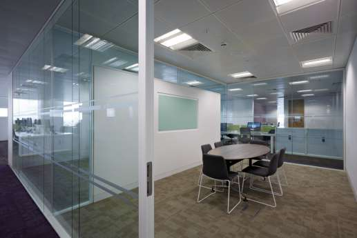 Glass screens in meeting room