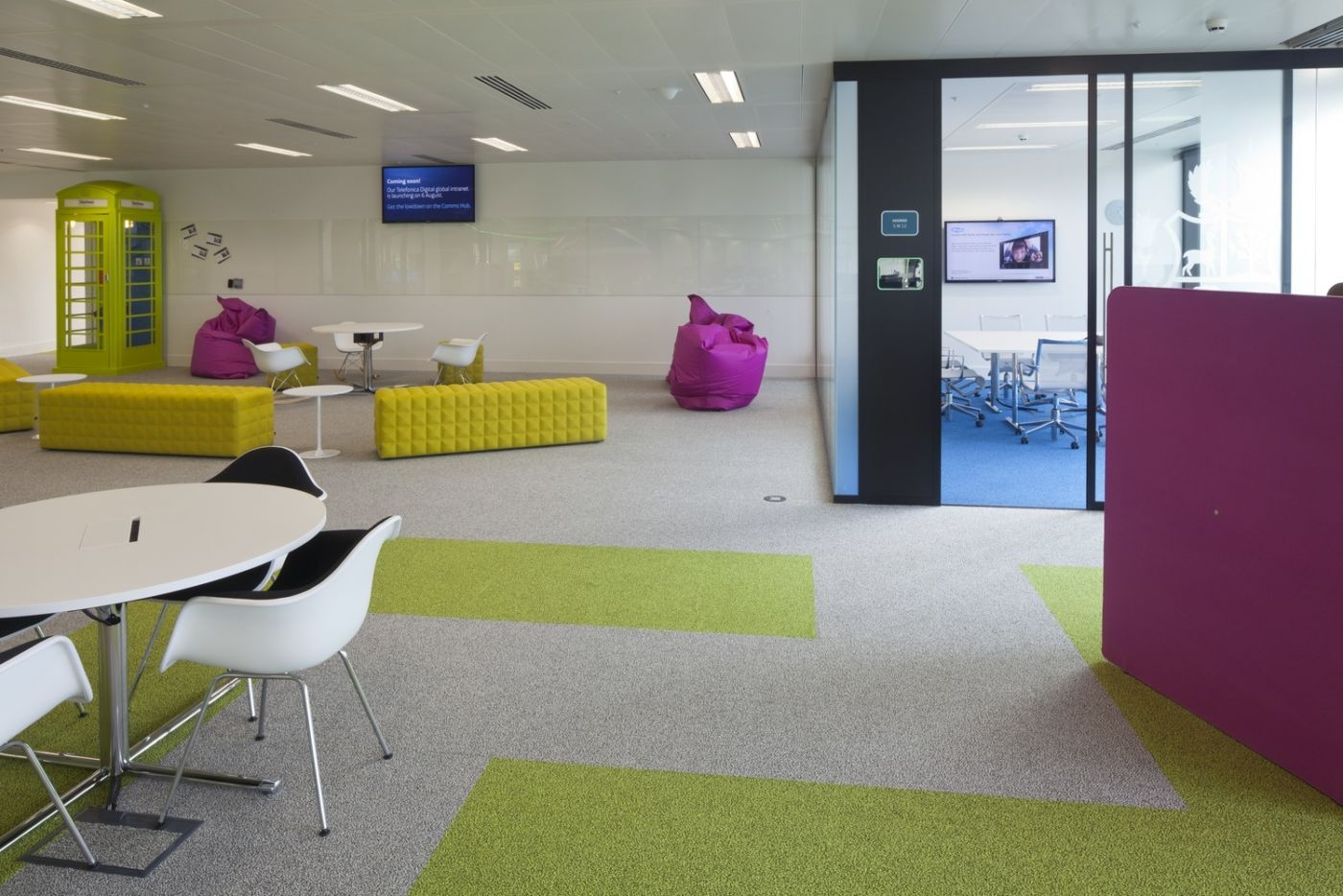 Colourful furniture outside meeting room